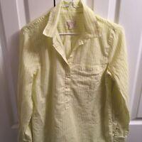 J.Crew Womens Popover Button Down Shirt Yellow Stripe Long Cuff Sleeve Pocket S