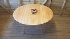 VINTAGE ERCOL WINDSOR ASH BLONDE OVAL DROP LEAF DINING TABLE MODEL 384