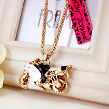 Charm Pendant Betsey Johnson Rhinestone golde Jewelry Motorcycle Women Necklaces