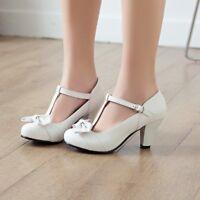 Women's Bowknot Ankle Strap Block Heels Round Toe Sweet Lolita Platform Shoes