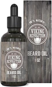 Viking Revolution Beard Oil Conditioner - All Natural Unscented Argan & Jojoba –
