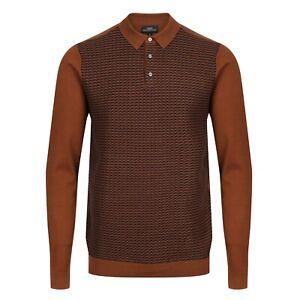 NEXT™ Knitted Polo Shirt New Mens Long Sleeve Textured 3 Button Jumper Top