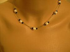 Collier  Original perles de verre Blanc/Noir Mariage/Mariée/Soirée  robe, bijoux