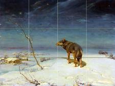 Art Wildlife Winter Wolf Ceramic Mural Backsplash Bath Tile #2253