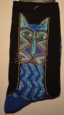 "Laurel Burch Cat Pattern Socks-""TRIBAL ZIG-ZAG CAT-BLUE"" #15H00301"
