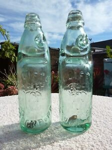 2x D Clifton Stockport Glass Mineral Water Codd Neck Bottle Breweriana 23cm