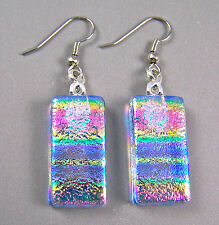 """DICHROIC Glass EARRINGS Pink Blue Rainbow Tie Dye Patterned Dangle Surgical 1"""""""