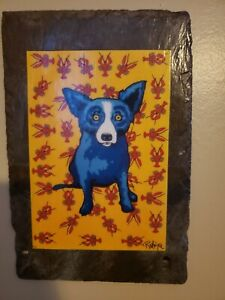 "BLUE DOG "" CAJUN FEAST "" -  Rodrique - Mounted on 150 yr old piece of slate"