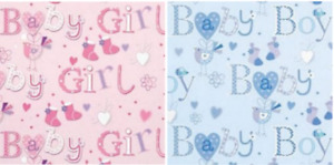 Cute New Born Baby Gift Wrapping Paper Birth Pink or Blue Boys Girls Quality