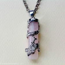 bijou celtique gothique médiéval Collier dragon sur pendentif en quartz rose