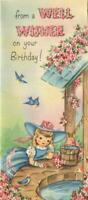 VINTAGE PINK BLUE BIRDS PRETTY GIRL WISHING WELL WATER FLOWERS BD GREETING CARD