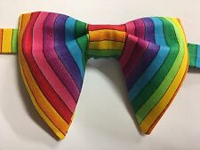 NEW Handmade Vintage style Bow tie 70`s Rainbow Striped Wedding Bowtie OOAK
