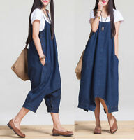Womens Loose Denim Dungaree Overall Dress Jean Pinafore Suspender Skirt Baggy