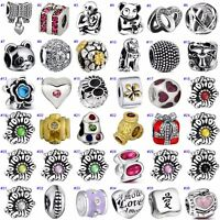 New Floral Beads Nice Gift Jewelry Fit Sterling 925 Silver Charms Bracelet Chain