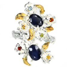 REAL MULTI COLOR SAPPHIRE OVAL & ROUND STELRING 925 SILVER 2-TONE FLOWER RING 7