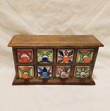 ❀ڿڰۣ❀ FAIRTRADE Mango Wood & Ceramic APOTHECARY JEWELLERY SPICE Chest of Drawers