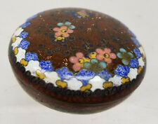 Antique Japanese Cloisonne Enamel Small Cosmetic Pill Covered Box