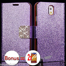 Purple Premium Bling Glossy Wallet Flip Case For Samsung Galaxy Note 3+2SP