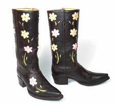 Senka Tall Brown Cowboy Boots - Women's 8M Leather Flowers Inlays Cut-Outs