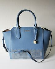 MICHAEL KORS TASCHE/BAG HAYES LG NS TOTE Leather Leder denim blau Nieten