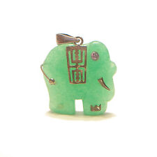 Vintage Apple Green Jadeite & Silver Elephant Pendant - China - Mid 20th Century