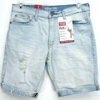 New Signature Levis Mens Blue Flex Loose Stretch Cuffed Denim Jean Shorts 30