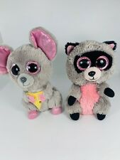 "TY Beanie Boos Squeaker Mouse And Rocco Raccoon 6"" Lot"