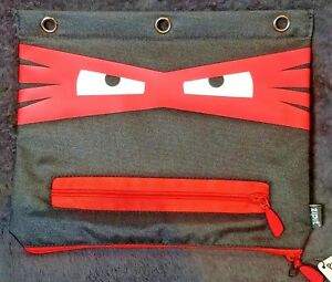 Zipit GRILLZ NINJA 3 Ring Binder RED Pencil Case Pouch Silver Teeth Monster Pen