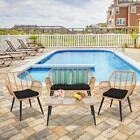 4 Pieces Patio Wicker Furniture Outdoor Rattan Sofa Garden Conversation Set New