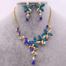 Lady Blue Crystal Rhinestone Diamond Chain Necklace Pendant Earrings Jewelry Set