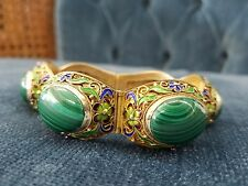 ANTIQUE FAT CHINESE SILVER AND ENAMEL BRACELET WITH MALACHITE CABOCHON STONES