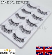 5 Pairs LONG NATURAL False Eyelashes Fake Strip 747L EyeLashes Extensions Wispy