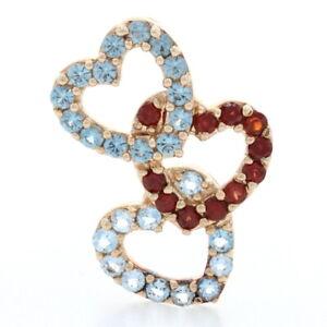 .71ctw Round Cut Synthetic Spinel, Garnet, & Aquamarine Pendant 10k Gold Hearts