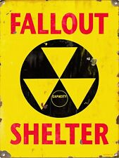 Vintage Retro Reproduction Fallout Shelter Radiation Warning Metal Sign 9x12