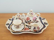 RARE MASONS IRONSTONE CHINA MINIATURE TEA SET BLUE MANDALAY COMPLETE SET CUP