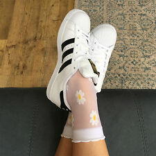 Leg Avenue Sheer Daisy Ankle Socks. 58% Nylon 34% Polyester 8% Spandex 20 Denier
