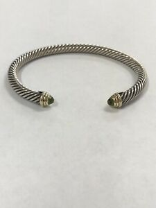$625 DAVID YURMAN 14K GOLD, SS PERIDOT BRACELET MEDIUM