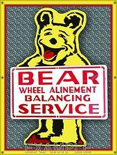 BEAR SERVICE WHEEL ALINEMENT OLD SCHOOL SIGN REMAKE BANNER GARAGE ART 4' X 3' SB