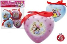 4 x Disney Princess Christmas Tree Baubles Heart Shaped NEW OFFICIAL
