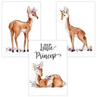 3er Set Wandbilder Baby Kinderzimmer Deko Poster W05 Little Princess Rehkitz Reh