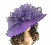 Purple Large Ascot Hat for Weddings, Ascot, Derby in many colors