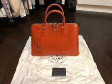 Prada Arancio Saffiano Vernice Leather Large handbag BL0812