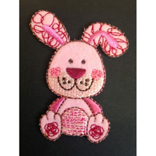 Floppy Eared Happy Bunny Rabbit Iron On Craft Motif Stylish Patch