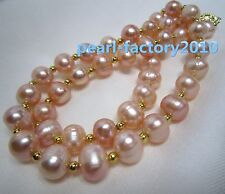 "18"" AAA 8-9MM SOUTH SEA NATURAL PINK PEARL NECKLACE 14K GOLD CLASP"