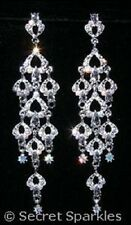 Large Rhinestone Diamante Crystal Dangling Raining Hearts Chandelier Earrings
