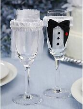 BRIDE & GROOM  CHAMPAGNE,WINE, FLUTE GLASS COVERS WEDDING CELEBRATION FAVOR