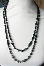 Antique Victorian Matt matte Black Glass Mourning Beads Necklace Long