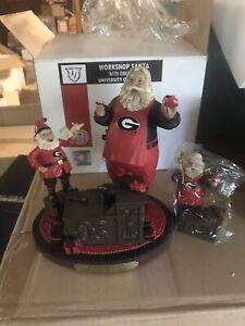 UGA workshop Santa With helper Mascot Figurine And Ornament Georgia bulldogs New