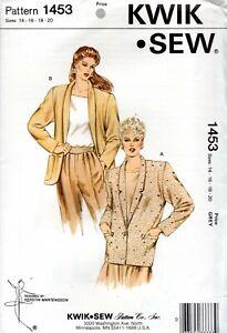 1980s Kwik Sew Sewing Pattern 1453  Misses' Blazer Size 14-20