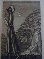 Jean DEMAILLY (XX) Gravure EAU FORTE ORIGINALE HOMME FEMME GAZELLE ART DECO 1928